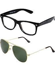 Sheomy Unisex Combo Pack Of Transparent Wayfarer Sunglasses And Golden Green Aviator Sunglasses For Men And Women...