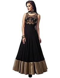 Marmic Fab Women's Net A-Line Semi Stitched Anarkali Dress Material(Dresses 10_Blue_Free Size)