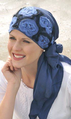 Tulle Triangle Scarf for Women with Cancer, Chemo, and Hair Loss - Denim Tulle