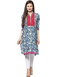Indi Dori Women's Cotton Blue Printed Kurti With Pink Yoke