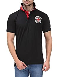 Scott Mens Polo T-Shirt Black With Embroidery