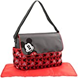 Disney Mickey Mouse Toss Heads Print Diaper Bag With Mickey Applique On Flap