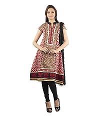 Rama Set Of Bagru Print Black-Red Color Kurti With Black Color Legging & Duppatta