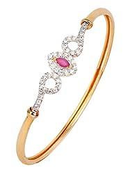 The Jewelbox American Diamond CZ Red Marquise Openable Kada Bangle Bracelet
