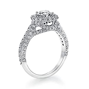 Diamond Engagement Ring in 14K Gold / White Certified, Round, 1.93 Carat, J Color, SI3 Clarity