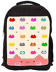 Snoogg Cute Kitty Icons Backpack Rucksack School Travel Unisex Casual Canvas Bag Bookbag Satchel