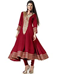 Sargam Fashion Embellished Red Georgette Anarkali Casual Wear Women's Kurti. - HFC_Rakhi_Red_Kurti