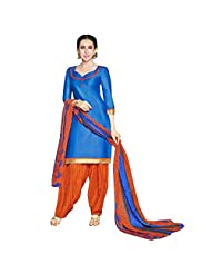 She Fashion Women's Cotton Suit With Print Straight Unstitched Stiched Suit [Karishma8004_Blue_Free Size] - B019S33YUC
