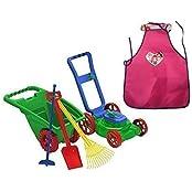 Kids Or Toddler Pretend Play Toys Lawn Mower,Garden Cart/Wheelbarrow,Hoe,Rack And Shovel Outdoor/Indoor Plastic...