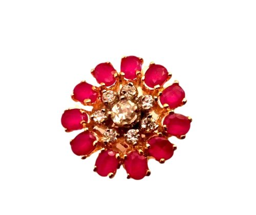 Orne Jewels Ruby Diamond Cocktail Ring For Women - B00IO9E118