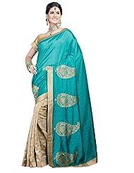 Cream Tussar Silk Weaved Saree In Blue Weaved Pallu & Golden Border-SR6286
