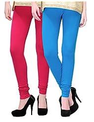 2Day Women's Cotton Churidaar Legging Fushia/Turquise (Pack Of 2)