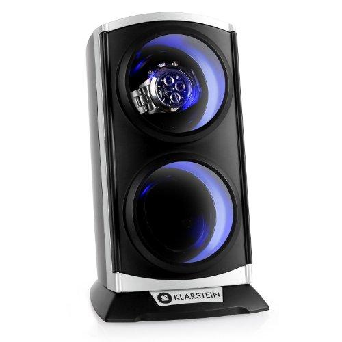 Klarstein St.Gallen Premium Remontoir automatique pour 2 montres (ultra-silencieux, 4 programmes, rétro-éclairage bleu) - noir