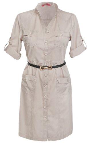 Glamour Empire Women's Mandarin Collar Combat Style Shirt Dress w/ Pockets 096 (US 12, Ecru)