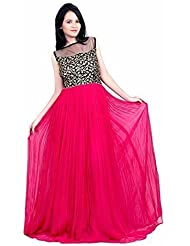 Mogal Women's Amazing Georgette Western Rad Gown ( Free Size_Pink )