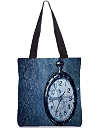 Snoogg Clock In The Rain Digitally Printed Utility Tote Bag Handbag Made Of Poly Canvas