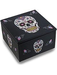 Day Of The Dead White Sugar Skull Dia De Los Muertos Mirrored Trinket Box By Zeckos
