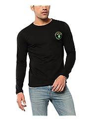 Ebry Men's Round Neck Cotton T-Shirt (Black)