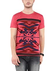 Aventura Outfitters Men's Crew Neck Printed T-Shirt (Coral Melange)