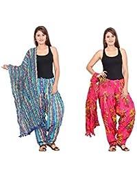 Rama Set Of 2 Printed Yellow & Pink Colour Cotton Full Patiala With Dupatta Set