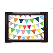 Nutcase Designer Wooden Serving Trays For Kitchen Serving/Dining (13x9) Inch - Colorful String Pennants Flags