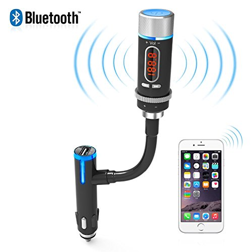 AKASO Wireless Bluetooth FM Transmitter Radio Adapter Handsfree Car Kit with Hands-Free Calling and Music Control, USB Charger£¬For iPhone,Android phone,Other Devices