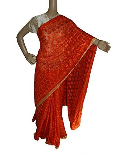 Beautiful RUDA Designer Phulkari Embroidered Saree-JS1123