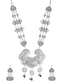 Silver Shop Silver Alloy Multi-Strand Necklace Set For Women (MN-021)