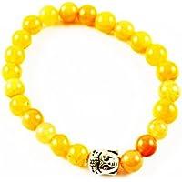 Eshoppee Natural Stone Buddha Bracelet With Silver Buddha Bead For Men And Women - B01LCKRKZ4