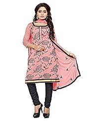 Divya Emporio Unstitched Cotton Silk Salwar Suit Dupatta(DE-019_Pink)