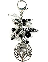 5Elements Black & Silver Antique Glass, Acrylic & Silver With Nickle Plating Purse Charm