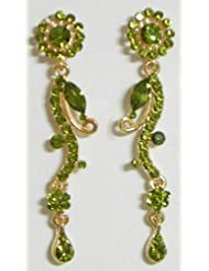 Olive Green Stone Studded Dangle Earrings - Stone And Metal