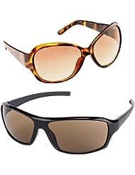 New Stylish UV Protected Combo Pack Of Sunglasses For Women / Girl ( BrownButterfly-BrownWrap ) ( CM-SUN-034 )