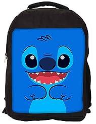 Snoogg Cute Blue Inface Backpack Rucksack School Travel Unisex Casual Canvas Bag Bookbag Satchel