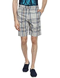 Blue Wave Multi Colour Checkered Casual Short For Men