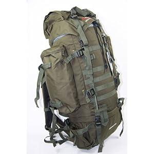 Brand New Military 65L +10L CAMO GREEN RUCKSACK BACKPACK CAMPING HIKING BAG