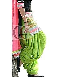 Vadaliya Enterprise Women's Black And Green Cotton Embroidered Salwar Suit