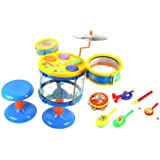 Deluxe Jazz Band Childrens Musical Instrument Toy Drum Play Set W/ 2 Drums, Cymbal, Toy Tambourine, Maracas, Trumpet...