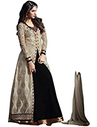 Active Women's Banglori Silk Embroidery Indo Western Dress Material (Free Size_Black)