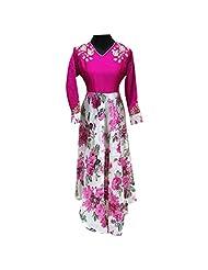 Pink And White Raw Silk Designer Party Wear Kurti