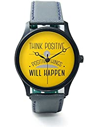 BigOwl Think Positive And Positive Things Will Happen Analog Men's Wrist Watch 2004498626-RB1-B-GRY