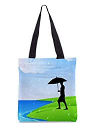 Snoogg Abstract Rainy Season Background With Silhouette Of A Man Holding Umbrella Designer Poly Canvas Tote Bag