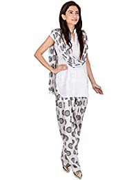 Womens Cottage Circular Printed Cotton Semi Patiala & Cotton Dupatta With Beads