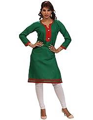 Alethia Enterprise Green Color Cotton Heavy Embroidered Stitched Kurti-ALI156KISKCK5XL