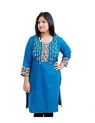 Viniyog Women Hand Woven Cotton Blue Kurti