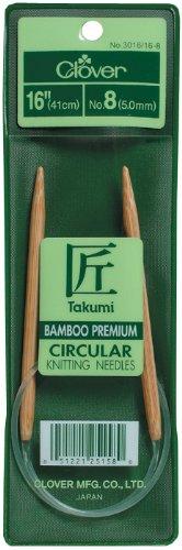 Clover Takumi Bamboo Circular 16-Inch Knitting Needles, Size 8