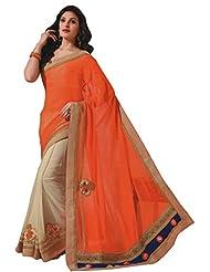 Aarti Saree Cream And Orange Saree Party Wear Fashionable Wedding Wear Saree
