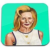 Margaret Thatcher Wooden Coaster - Pop Art Modern Contemporary Decorative Art Coaster, Hipstory Project By Amit...