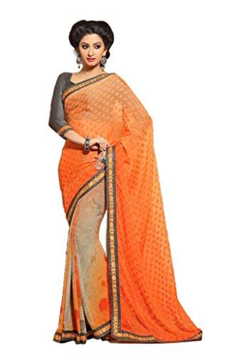 AG Lifestyle Orange & Grey Faux Georgette & Jacquard Pallu Saree With Unstitched Blouse ELG8009