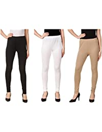 Svadhaa White Black Skin Cotton Lycra Leggings(Pack Of 3)